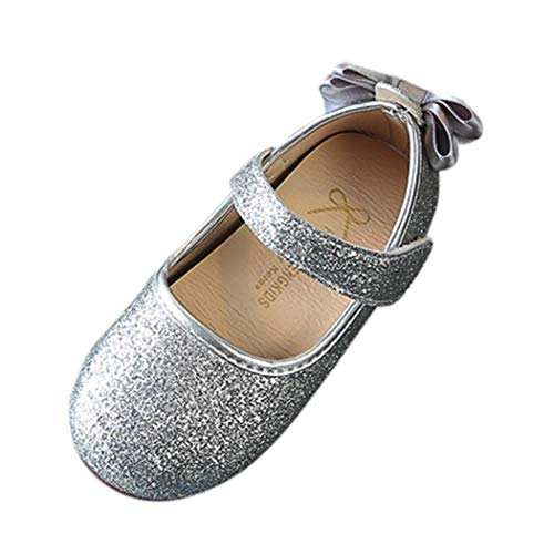 (Princess Dress Shoes Girls,Amiley Sequins Little Girls Bowknot Ballet Shoes Ballerina Mary Jane Low Heels Wedding for Party Princess Dress Shoes (Silver, US:8/Age:4T))