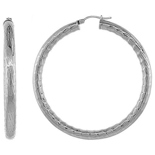 (Stainless Steel Hoop Earrings 2 1/4 inch Bamboo Pattern 5mm Thick Tube Light Weight)