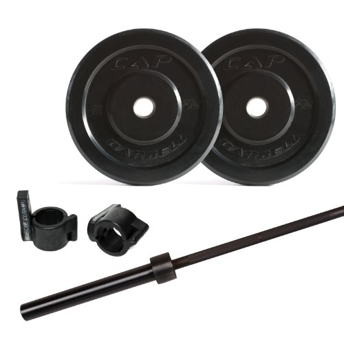 CAP Barbell Bumper Plate Set with 7-Inch Power Bar and Muscle Clamp, 135-Pound Review