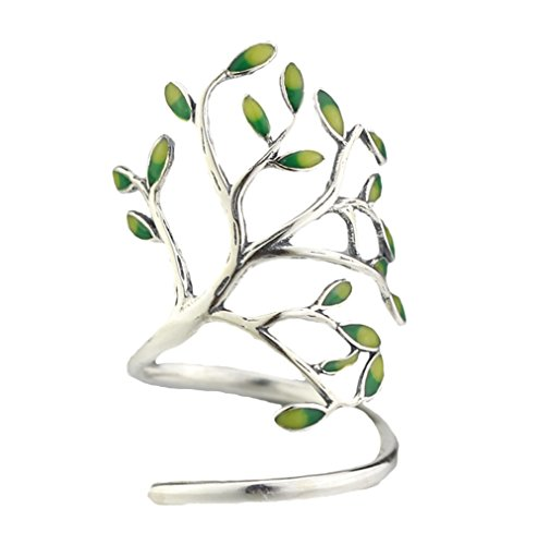 SUNDAY ROSE 925 Silver Olive Leaves Branch Tree Vine Adjustable Ring