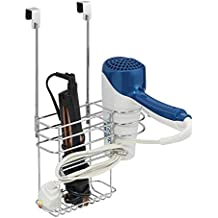 mDesign Metal Over Door Hair Care & Styling Tool Storage Organizer Basket for Hair Dryer, Flat Iron, Curling Wand, Hair Straightener, Brush - Hang Inside or Outside Cabinet Doors, 2 Sections - Chrome