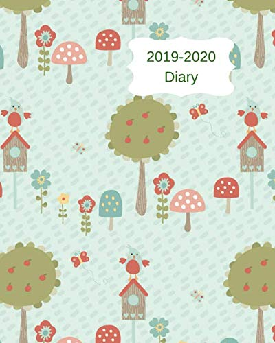 2019-2020 Diary: 8x10 day to a page academic year diary, notes, to do list & priorities on each page. Blue cover with trees, birds & toadstools design
