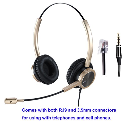 Headset Compatible Phone - Phone Headset RJ9 Call Center Headset with Noise Cancelling Mic With Extra 3.5mm Connetor for Mobiles Compatible with Avaya Nortel Aastra Toshiba Phone