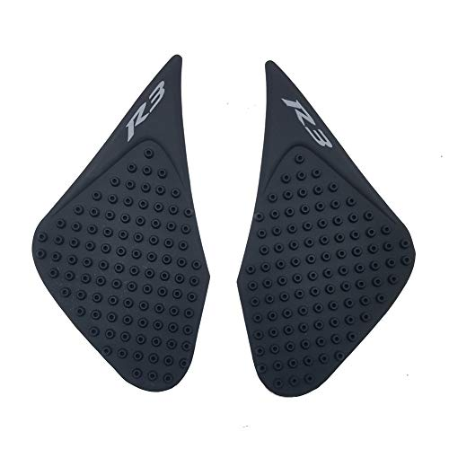 (Black Rubber 3D Dots Gas Fuel Tank Traction Pad Anti Side Slip Protector for Yamaha YZF R3 2015-2017)