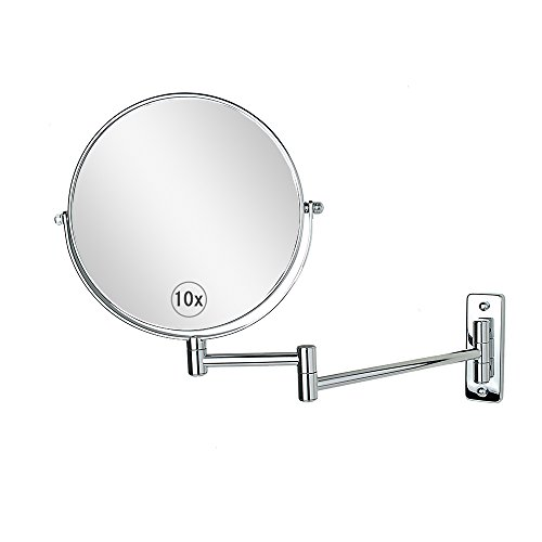 Wall Mounted Makeup Mirror 8-Inch 10x Magnification Two-Sided Swivel Extendable Bathroom Mirror Chrome (Swivel Bathroom Mirrors)