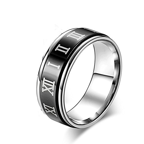 JAJAFOOK 8MM Unisex Stainless Steel Spinner Ring,Roman Numerals Spins Ring for Anxiety,Silver (Solid Silver Band Spin Ring)