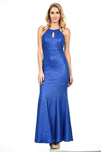Terani Prom Pageant Dress - TwinMod Halter Top Metallic Pattern Mermaid Soft Scuba Prom Bridesmaid Dress (X-LARGE, ROYAL)