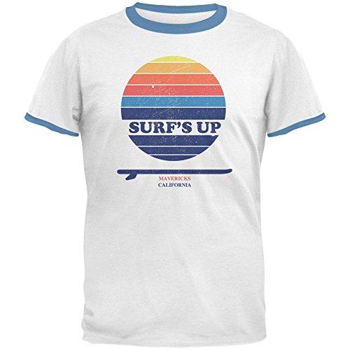 Sky Ringer T-shirt (Old Glory Surf's Up Mavericks California Mens Ringer T Shirt White-Sky X-LG)