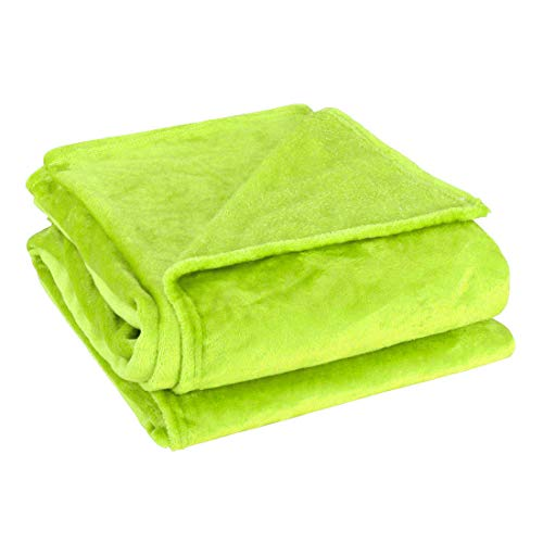uxcell Flannel Fleece Blanket Soft Lightweight Plush Microfiber Bed or Couch Blanket, Green Twin ()