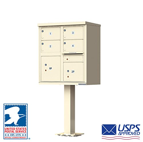 Vital™ Cluster Box Unit Type V CBU 4 Mailboxes with 2 Parcel Lockers Finish: Sandstone