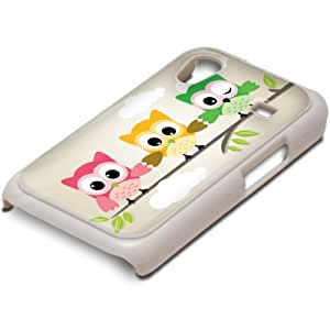 Búhos 10001, Blanco PC Ultradelgado Caso Duro Carcasa Funda Protección Tapa Hard Case Cover Shell con Diseño Colorido para Samsung Galaxy Ace S5830.