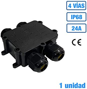 Caja estanca de empalme IP68 con regleta de conexión 24A (1, 4 Vías): Amazon.es: Bricolaje y herramientas