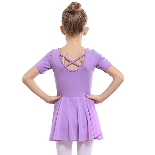 STELLE Girls Ballet Short Sleeve Dress Leotard for Dance, Gymnastics (90cm, Purple)