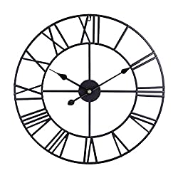 Goshfun Roman Numeral Wall Clock, 24 Inches Wrought Iron Mute Silent Wall Clock, Big No Ticking Hanging Clock Decor for Home Living Room, Black