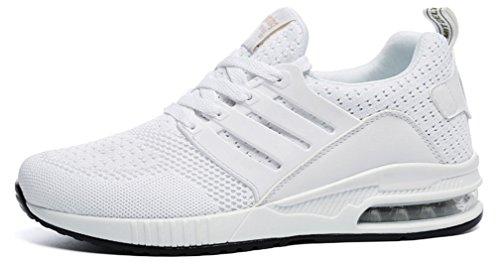Blanc Hishoes Baskets De Taille Absorbant Femme Course Gym Chaussures Air Sport Fitness Confort Sport Pour Lger Marche Shoes T8CqTrnw