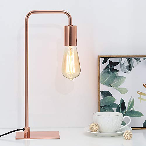 Roses Lamp - Rose Gold Table Lamp - Edison Bedside Lamps for Reading, Nightstand, Dressers - Small Metal Desk Lamp for Dorm Room, Bedroom