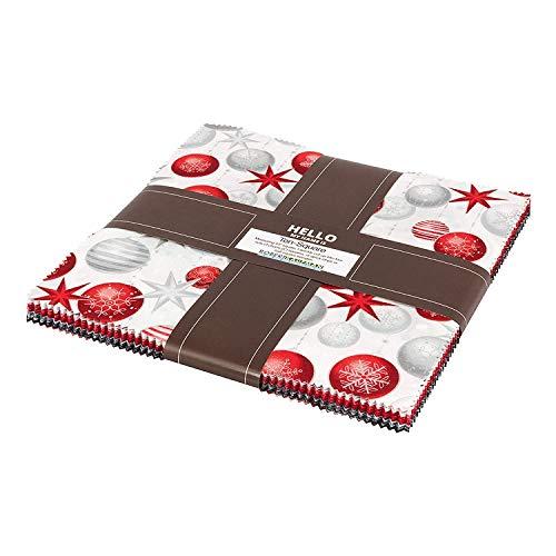 Fabric Christmas Merry (Winter's Grandeur 6 Winter Ten Square 42 10-inch Squares Layer Cake Robert Kaufman TEN-611-42)