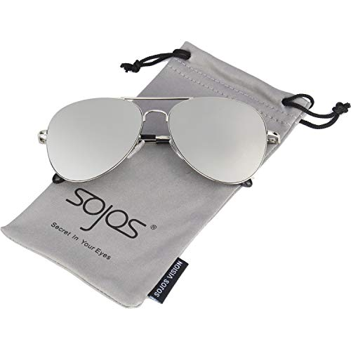 SOJOS Classic Aviator Mirrored Flat Lens Sunglasses Metal Frame with Spring Hinges SJ1030 with Silver Frame/Silver Mirrored Lens ()