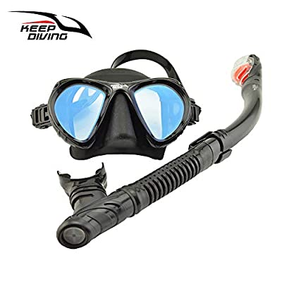 KEEP DIVING Snorkel Mask Diving Snorkel Set with Panoramic Tempered Glass and Free Breathing Anti-Leak Dry Top Snorkel, Snorkeling Packages Professional Snorkeling Set