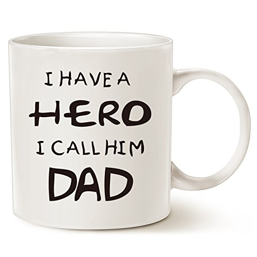 Christmas Gifts for Dad Coffee Mug - I HAVE A HERO I CALL HIM DAD - Funny Best Father's Day and Birthday Gifts for Dad, Father, Grandpa Porcelain Cup, White 14 Oz by LaTazas (A Gift For Dad)