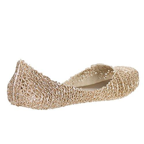 Elegance Glaze Womens Jelly Ballet Flat Champagne SBy2u