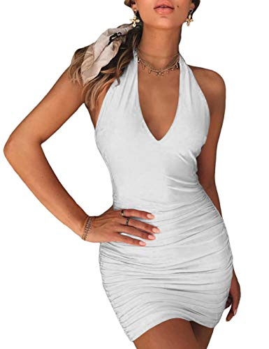 NAFOUR Women's Halter Backless Bandage Dress Low Cut Ruched Bodycon Cocktail Club Mini Dress White
