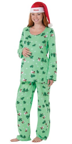 PajamaGram Women 's Let It Snow, Man Maternity Pajamas Green Large / 12-14