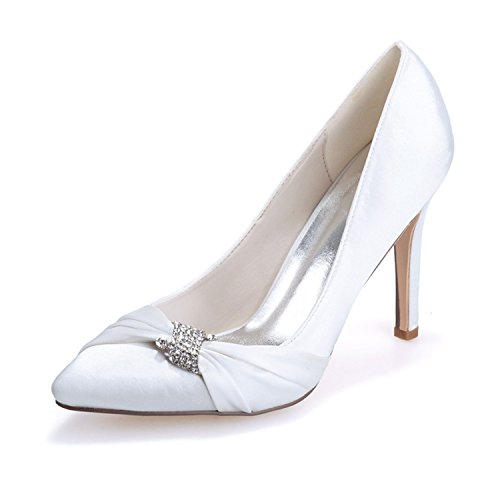 Ellenhouse Rhinestone Pumps Toe Heel Womens Stiletto Pointed Crystal White shoes EH025 rFCxraUwq