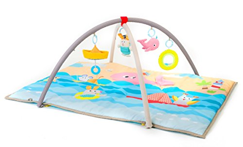 Taf Toys Seaside Pals Baby Gym Enables Easier Development Easier Parenting Supersize, Extra Padded Removable Arches, Soft Play Mat, Lightweight, Portable, Car Seat Cot Hanging Toys, for New-Born