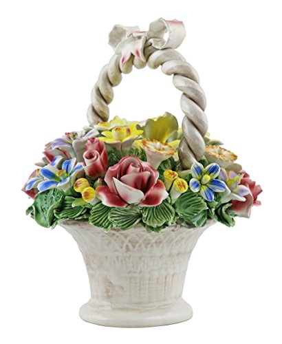 Authentic Italian Capodimonte 10 Inch Mix Flower Bouquet Basket with Handle and Bow