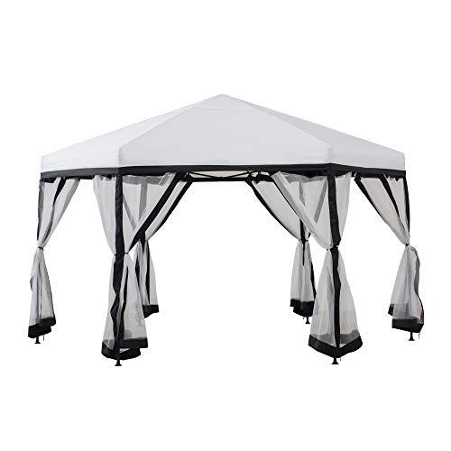 Sunjoy A101012602 Lambert 11×11 ft. 2-Tone Pop Up Portable Hexagon Steel Gazebo, White and  ...