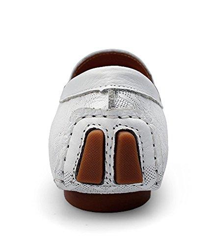 SK Studio Hombre Zapatos Del Barco Mocasines de Cuero Respirable Calzado Zapatos de Conducción Mocasine Blanco