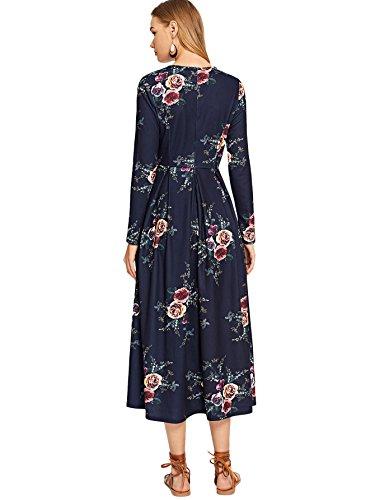 Milumia Dress Round Long Flower Women's Pleated Neck Navy Box Print wqTpR1w