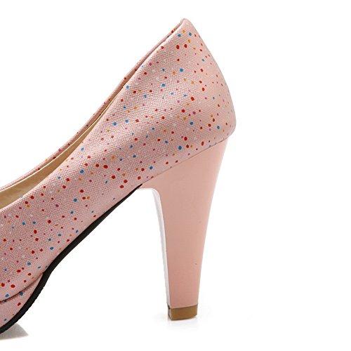 Balamasa Damer Glas Diamant Plattform Hjul Klack Skor Imiterade Läder Pumpar-skor Rosa