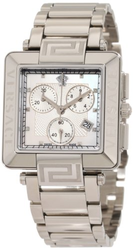 Versace Women's 88C99SD497 S099 Reve Carrè Chronograph Mother-Of-Pearl Diamond Steel Bracelet Watch