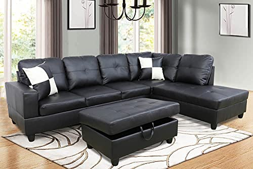 Lifestyle Furniture 3-Piece Black Contemporary Leather Living Room Right-Facing Sectional Sofa Set