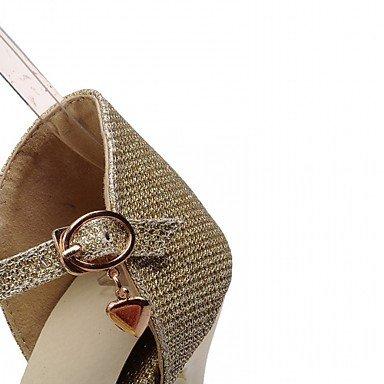 Talones de las mujeres Primavera Verano Otoño Invierno Comfort novedad de la PU de cuero oficina y carrera banquete de boda y vestido de noche tacón grueso informal Gold