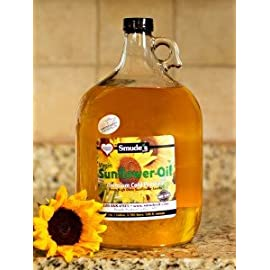 Smude Sunflower Oil 1 Gallon Glass [Cold Pressed, All Natural, NonGMO Cooking Oil] 5 Cold Pressed at 85 degrees Great for Oil Pulling Heart Healthy - High in Vitamin E