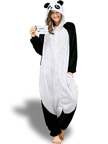 [Panda Animal Onesie for Adults Halloween Christmas Pajamas Set Onsie Nightwear L] (One Night Stand Costume For Girls)
