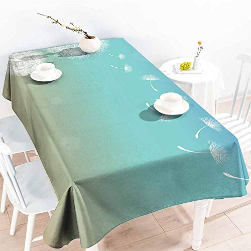Onefzc Spill-Proof Table Cover,Dandelion Blowball Flowers on Wind Blossoming Nature Outdoors Symbol of Growth,Table Cover for Dining,W60X90L Turquoise Tan White