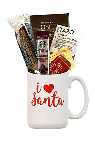 Christmas Gifts- Holiday Coffee Gift Sets- Kids Hot Chocolate Mug Kit- Yuletide Coffee Mugs- Coffees For Christmas (Mug Holiday Gift Set - Coffee Tea Cocoa- I Heart Santa)