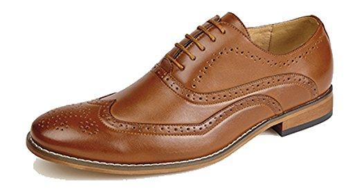 Goor Scarpe da uomo, con 5occhielli, Oxford, con fodera in pelle, marrone (Tan), 44