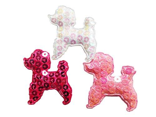 YYCRAFT Pack Of 42 Padded Sequin Poodle Dog Felt Applique-3 colors -