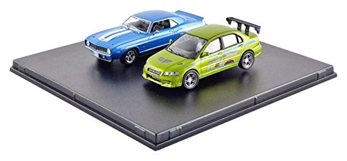 (1969 Chevrolet Yenko Camaro and 2002 Mitsubishi Lancer Evolution VII Drag Scene 2 Fast and 2 Furious Movie (2003) Diorama Set 1/43 by Greenlight 86253)