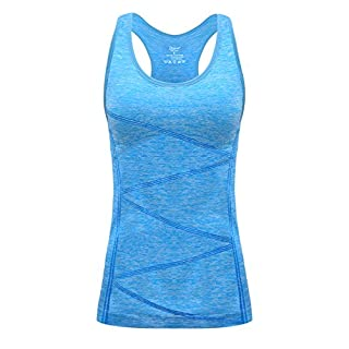 DISBEST Yoga Tank Top, Women's Performance Stretchy Quick Dry Sports Workout Running Top Vest with Removable Pads (Fluorescent Blue, X-Large)