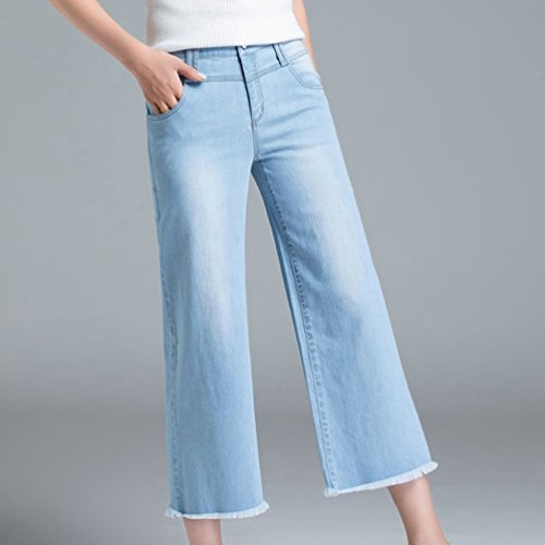 Jeans Casual Xinwcanga Lumire Jeans Houppe de Haute Droit Taille Respirant Bleu Femmes Fzqwg4