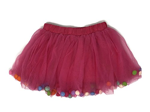 Rush Dance Ballerina Girls Dress-up Pom Pom Puff Balls Costume Recital Tutu (L (5-8 Years Old), Hot (Child Pink Ballerina Costumes)
