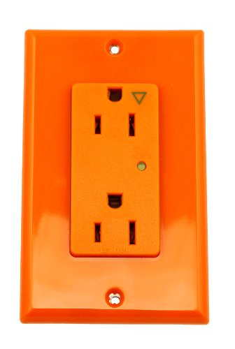 Leviton 5280-IGO 15-Amp, 125-Volt, Decora Plus Duplex Receptacle, Straight Blade, Industrial Grade, Isolated Ground, Surge with Indicator Light, Orange