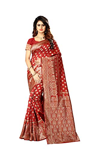 (Women's Banarasi Silk Saree Indian Wedding Ethnic Sari & Unstitch Blouse Piece PARI 22)