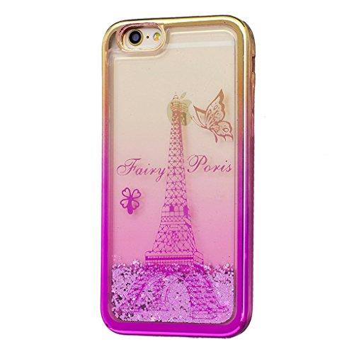 Trumpshop Smartphone Carcasa Funda Protección para Apple iPhone 6 Plus / iPhone 6s Plus (5.5-Pulgada) + Torre Eiffel + Fina de TPU Transparent Liquido Dinámica Sparkle Estrellas Quicksand Caja Torre Eiffel